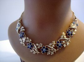 Vintage Goldtone Flower Necklace with Faux Sapphires (Sold)
